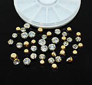 W104 1pcs Round Wheel Tips Accessories 3D Nail Art Golden Metal Rhinestones Beauty Nail Sticker Nail Rhinestones Decor