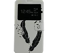 motif de plume cuir PU étui de téléphone portable pour Samsung Galaxy j7