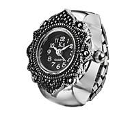Creative Charming Flower Fashion Lady Girl Steel Round Elastic Quartz Finger Ring watch women