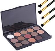 15 цветов профессиональный макияж теплый ню тени для век матовые мерцание палитра косметических + 4шт карандаш макияж кисти