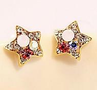 Fashion Color Star Diamond Stud Earrings