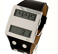 Men's Fashion Leather Band Digital Watch