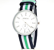 Unisex Casual Fabric Strap Silver Case Quartz Wrist Watch