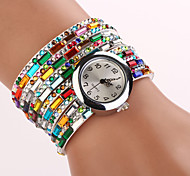 Ladies' Reflective Color Bracelet Table Leatherette Band Quartz Wrist Watch