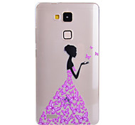 Butterfly Girl Pattern Ultrathin TPU Soft Case for Huawei Mate 7