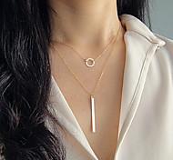 Women's Fashion Metal Long Strip Pendant Necklace