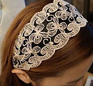 Flowers Pattern Printing Delicate Embroidery Lace Fabric Chiffon Headband