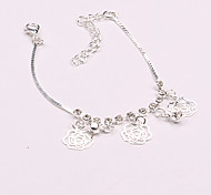 Europe and America Silver Rose Alloy Anklet Bracelet 1pc