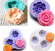 juego de 4 utensilios para hornear molde de silicona molde de pastel fondant decoración (color al azar)