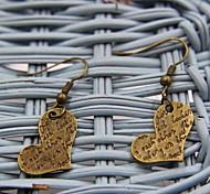 Sweety Heart Shaped Bronze Earrings