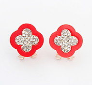 New Arrived For 2015 Free Shipping Beautifully Clover Shaped Resin Crystal Earring For Women