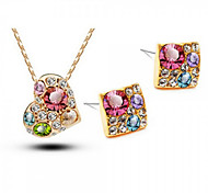 Z&X® Alloy Fashion Colorful Square/Heart Shaped Jewelry Set Party/Daily 1set(Including Necklaces/Earrings)