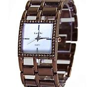 Frauen Damen legieren braun Band Quarz-Armbanduhr
