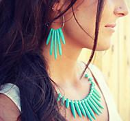 Punk Style Rivet Drop Shape Turquoise Earrings Necklace Set