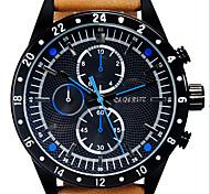 cagarny Männer neue drei mustern sechs Nadelkreisvorwahlknopf PU-Leder-Gürtel Quarzwerk Armbanduhr (farbig sortiert)