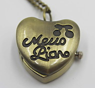 Romantic Heart Shaped Pocket Watch Sweater Necklace
