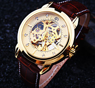 Men's New Round Diamond Dial Mineral Glass Mirror Genuine Leather Band Waterproof Fashion Mechanical Watch Cool Watch Unique Watch