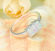 regalo de la familia 3x fuego gema ópalo de fuego cuadrado blanco de plata 925 anillos de flores declaración de fiesta de la boda