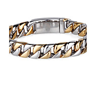 Toonykelly Fashion 22CM Men's Stainless Steel Silver and Gold Link Men Bracelet(1PC)