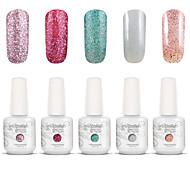 Gelpolish Nail Art Soak Off UV Nail Gel Polish Color Gel Manicure Kit 5 Colors Set S140