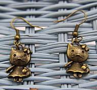 Lovely Cat Bronze Earrings