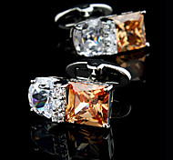 Fashion Copper Men Jewelry Silver Square Orange Crystal Rhinestone Delicate Button Cufflinks(1Pair)