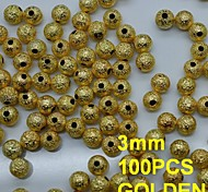 N136 100pcs/lot 3mm DIY Rhinestones Round Shape Metal Rhinestones with Hole Golden Color for Nail Art Accessories