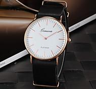 Lady's Classic Dial Slim Case Quartz Wristwatch Leather Strap