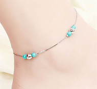 Vilam® Hot Girl Ankle Bracelet Bead Chain Silver Beads Torquise Color Beads Anklet Foot Jewelry
