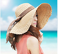 Women Casual Summer Linen/Straw Straw Hat with Bowknot