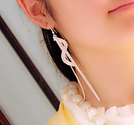 HUALUO®Long Section S-Shaped Diamond Tassel Earrings