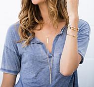 Women's Fashion Metal Rods Tassels Long Chain Necklace