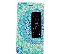 teste padrão azul e branco com janelas inteligentes pu material do caso com suporte para Huawei p8
