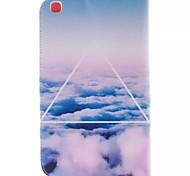 blanco imagen de nubes de la PU cuero caso del tpu de cuerpo completo con soporte de la tarjeta para Samsung T310 galaxia / tab 3