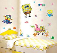 Cartoon SpongeBob SquarePants Beach Kids Room PVC Wall Sticker Wall Decals