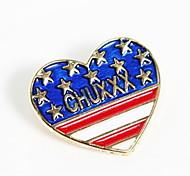 corações moda pêssego broche botão britânico do design da bandeira camisa de colarinho