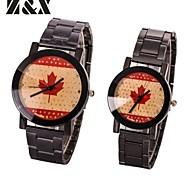 la moda de la pareja reloj bandera cuarzo de la muñeca de la correa de acero encantadora canadá nacional (colores surtidos)