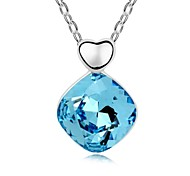 Confidante Lady Short Necklace Plated with 18K True Platinum Aquamarine Crystallized Austrian Crystal Stones