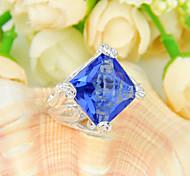 regalo de la familia de incendios plaza suizos gema azul topacio plata 925 anillos de flores declaración de fiesta de la boda ocasional