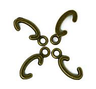 beadia 100pcs fascini in lega di alfabeto lettera c 6x16mm bronzo antico pendenti accessori fai da te