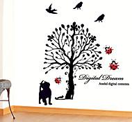 Cartoon Black Cat Tree PVC Wall Sticker Wall Decals