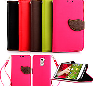 Luxury PU Leather Skin Flip Stand Case For LG G2 Mini Phone Shell Leaf Pouch Wallet Handbag+Lanyard+Card Slot
