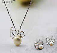 Lureme®Fashion Love 925 Silver Pearl Jewelry Set(Earrings &Necklace)