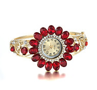 Sjewelry Elegant Golden Diamond Sunflower Lady Cuff Bangle Watch Cool Watches Unique Watches