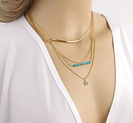Natural Turquoise Eyes Copper Beads Multilayer Combination Bend Pendant Necklace