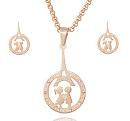 Women Men Distinctive 18K Gold Plated Stainless Steel Lovers Round Pendant Necklace Stud Earrings Jewelry Sets