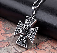 Unique Skull Cross Titanium-Steel Pendant(Black)(1Pc)