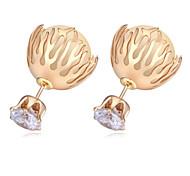 Fashion AAA+ Zircon Crystal Stud Earrings 18K Gold Plated Big Pearl Stud Earrings Lady Luxury Pearl Jewelry Earrings
