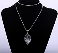 Cute Women's Sweater Chain Stereo Leaf Pendant Long Necklace with Crystal(Gun Black Plated)