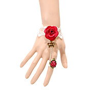 Vintage Red Roses Bowknot Bracelet With Ring